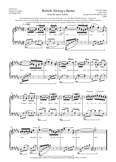 Lakme, British Airways Theme Tune (1 Page)