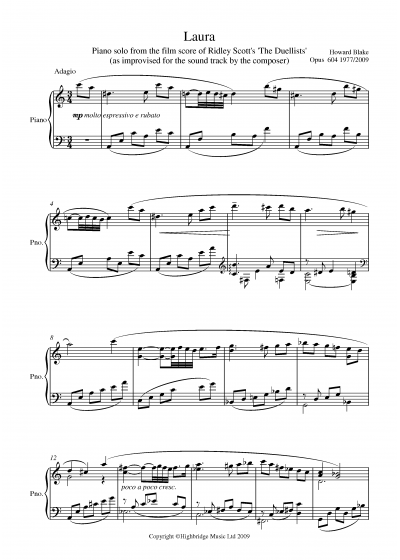Laura, Piano theme from 'The Duellists' (2 Pages)
